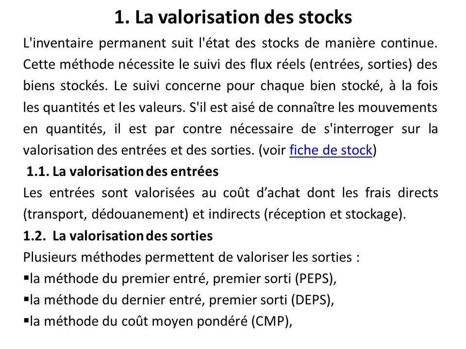 1. La valorisation des stocks L'inventaire permanent suit l'état des stocks de manière continue. Cette méthode nécessite le suivi des flux réels (entr