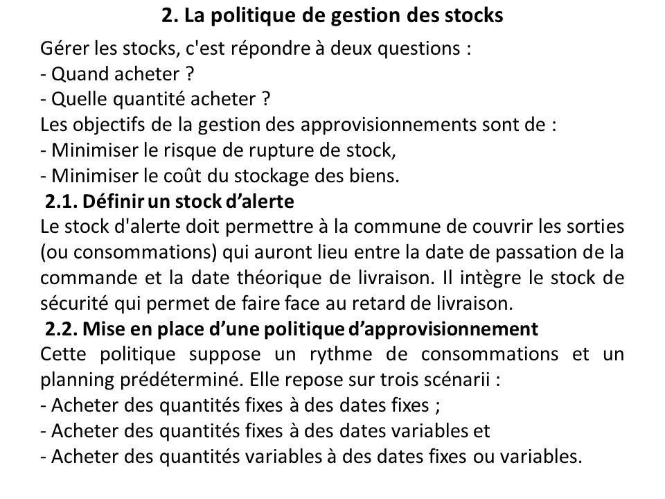 2. La politique de gestion des stocks Gérer les stocks, c'est répondre à deux questions : - Quand acheter ? - Quelle quantité acheter ? Les objectifs