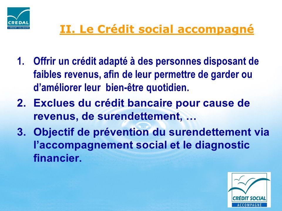 II. Le Crédit social accompagné 1.Offrir un crédit adapté à des personnes disposant de faibles revenus, afin de leur permettre de garder ou daméliorer