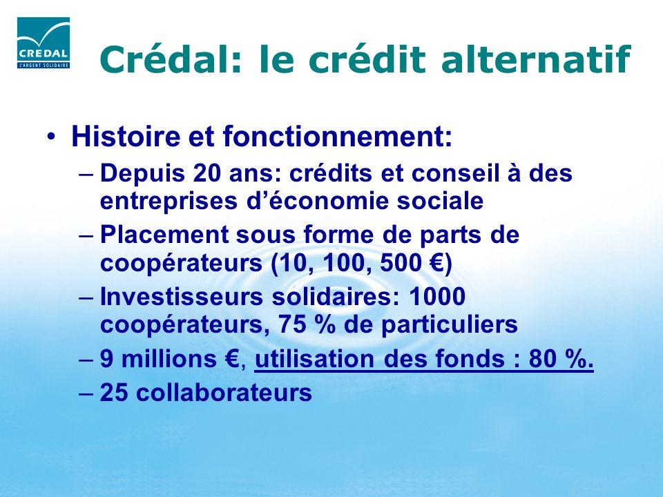 Crédal: le crédit alternatif Histoire et fonctionnement: –Depuis 20 ans: crédits et conseil à des entreprises déconomie sociale –Placement sous forme