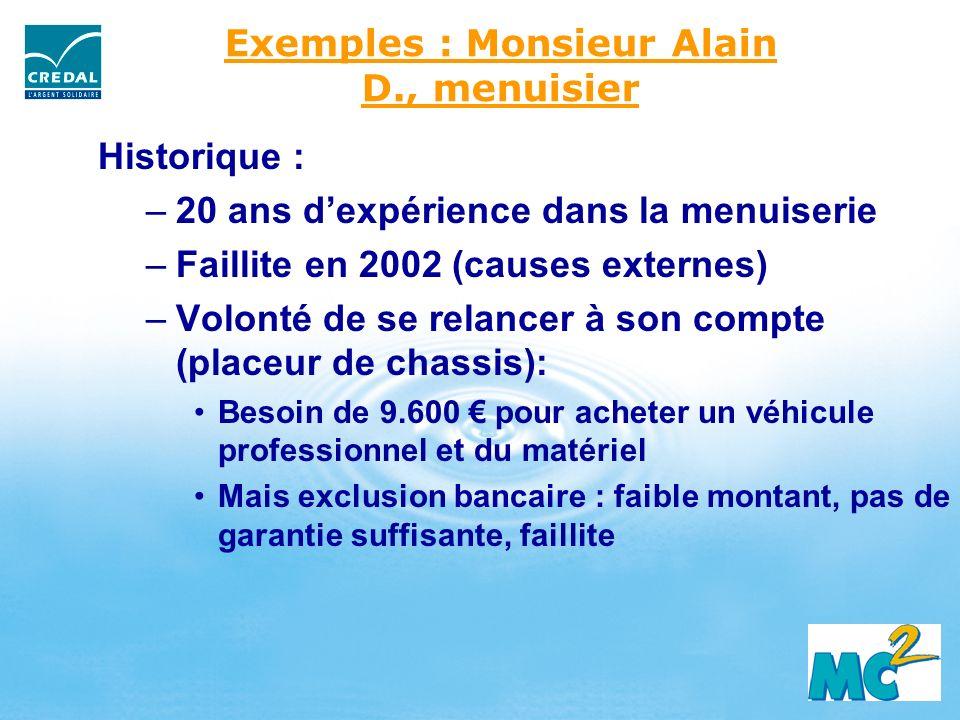 Exemples : Monsieur Alain D., menuisier Historique : –20 ans dexpérience dans la menuiserie –Faillite en 2002 (causes externes) –Volonté de se relance