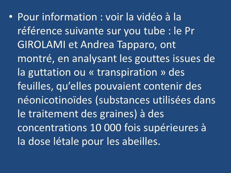 Pour information : voir la vidéo à la référence suivante sur you tube : le Pr GIROLAMI et Andrea Tapparo, ont montré, en analysant les gouttes issues
