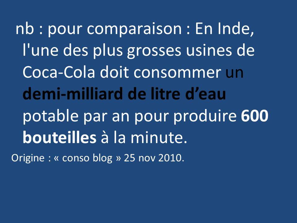 nb : pour comparaison : En Inde, l'une des plus grosses usines de Coca-Cola doit consommer un demi-milliard de litre deau potable par an pour produire