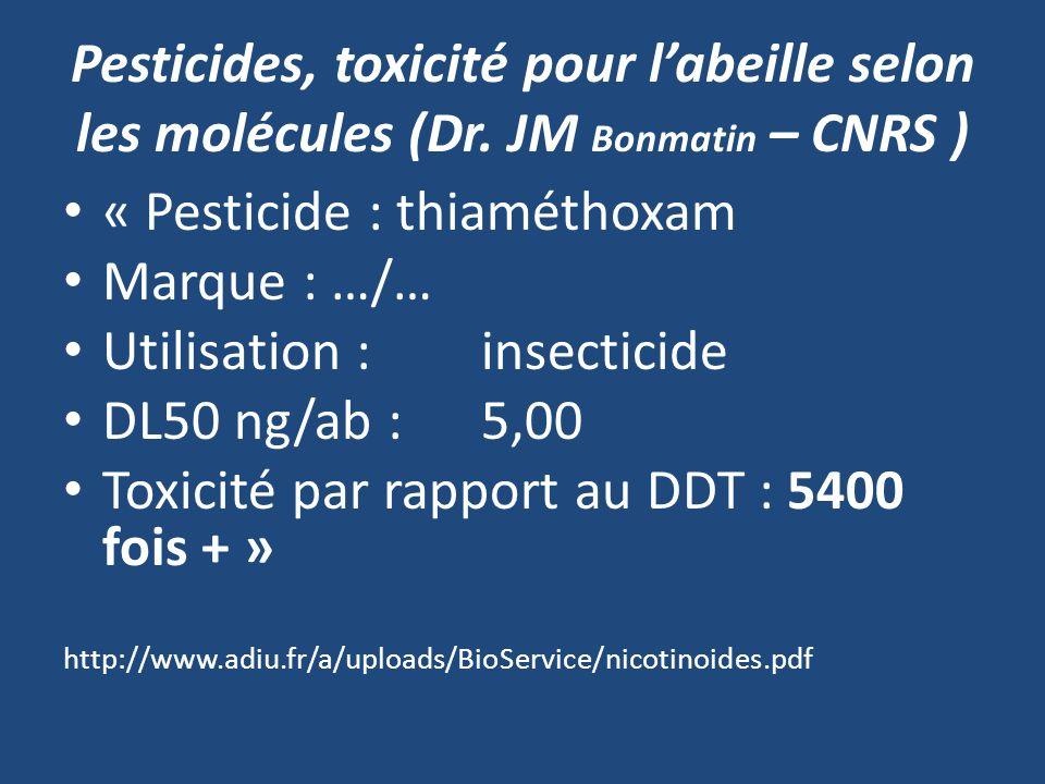 Pesticides, toxicité pour labeille selon les molécules (Dr. JM Bonmatin – CNRS ) « Pesticide : thiaméthoxam Marque : …/… Utilisation : insecticide DL5