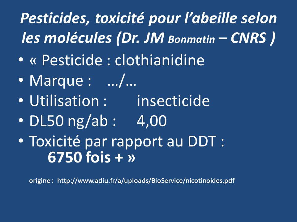 Pesticides, toxicité pour labeille selon les molécules (Dr. JM Bonmatin – CNRS ) « Pesticide : clothianidine Marque :…/… Utilisation : insecticide DL5