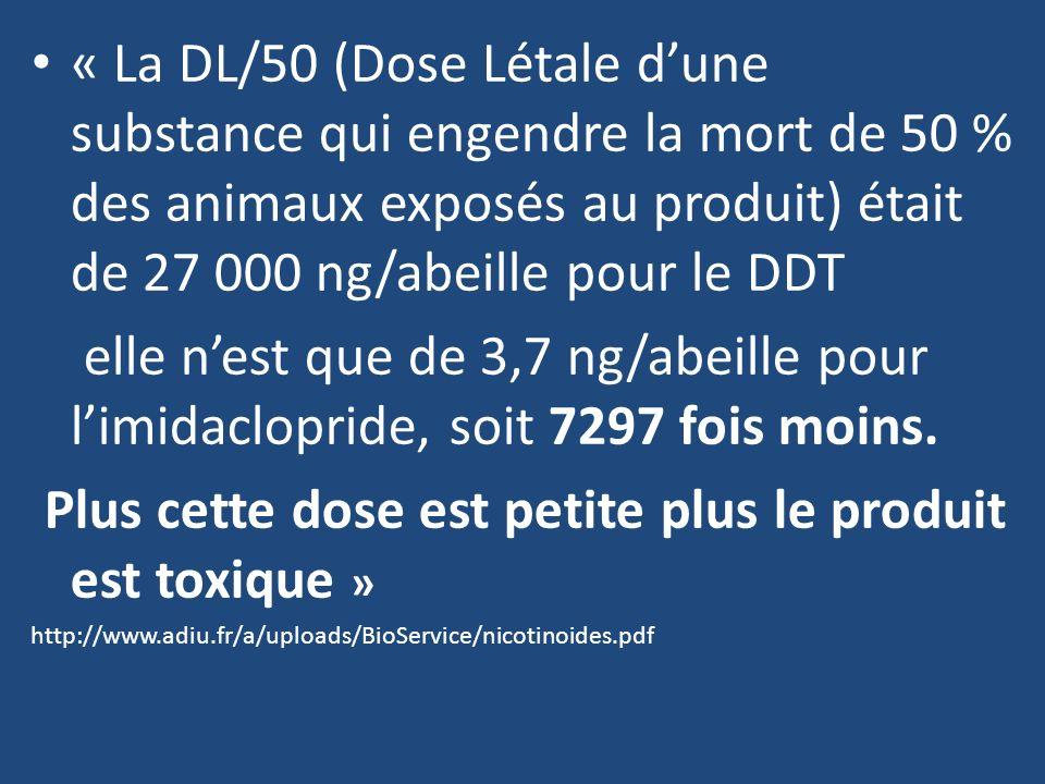 « La DL/50 (Dose Létale dune substance qui engendre la mort de 50 % des animaux exposés au produit) était de 27 000 ng/abeille pour le DDT elle nest q