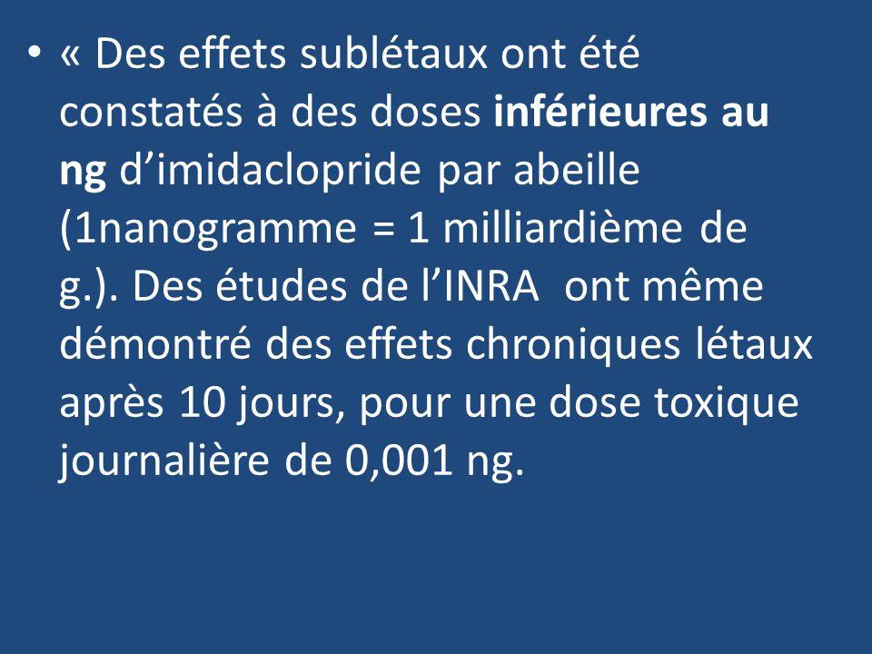 « Des effets sublétaux ont été constatés à des doses inférieures au ng dimidaclopride par abeille (1nanogramme = 1 milliardième de g.). Des études de