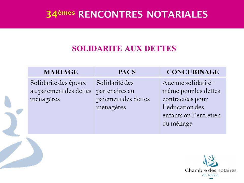 SOLIDARITE AUX DETTES 34 èmes RENCONTRES NOTARIALES MARIAGEPACSCONCUBINAGE Solidarité des époux au paiement des dettes ménagères Solidarité des parten