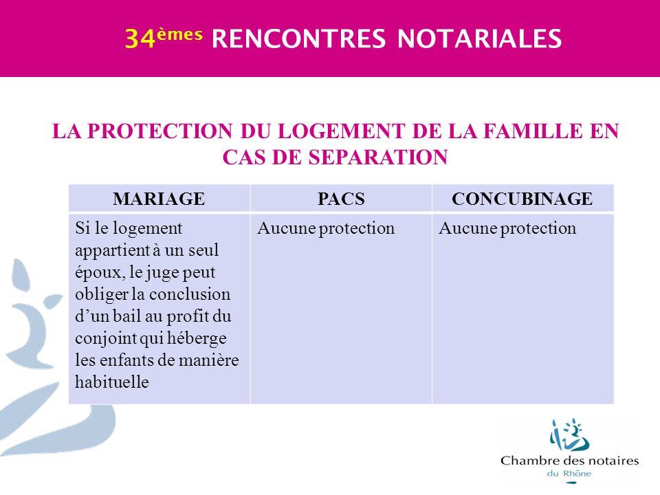 LA PROTECTION DU LOGEMENT DE LA FAMILLE EN CAS DE SEPARATION 34 èmes RENCONTRES NOTARIALES MARIAGEPACSCONCUBINAGE Si le logement appartient à un seul