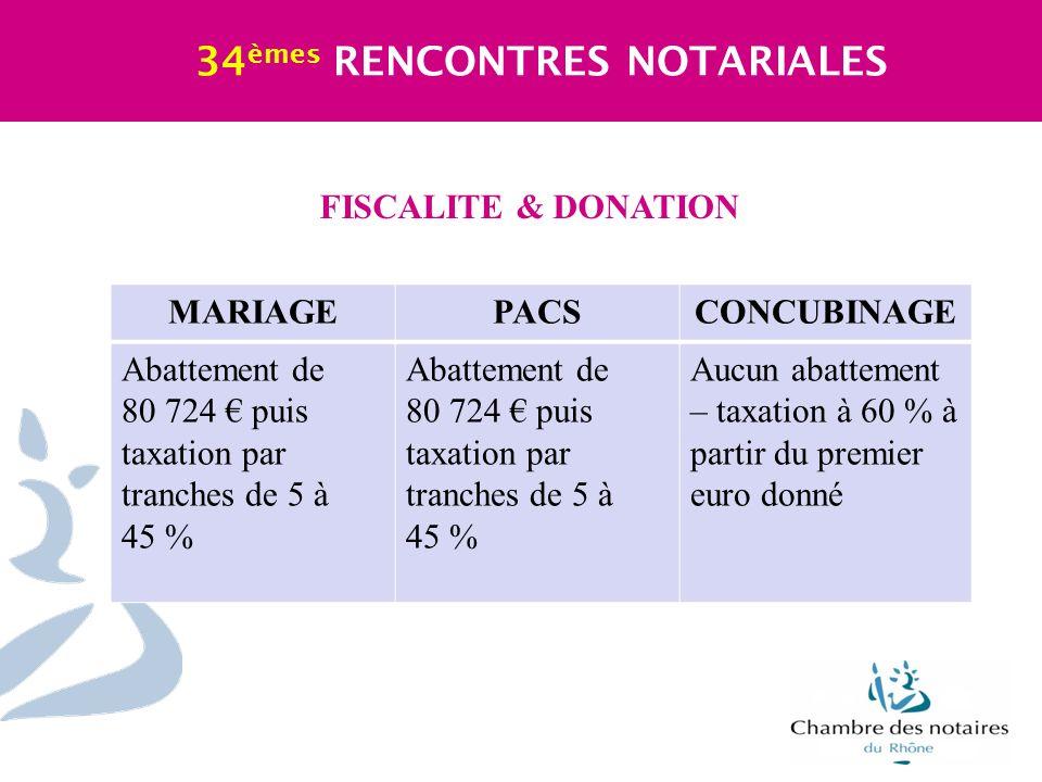 FISCALITE & DONATION 34 èmes RENCONTRES NOTARIALES MARIAGEPACSCONCUBINAGE Abattement de 80 724 puis taxation par tranches de 5 à 45 % Abattement de 80