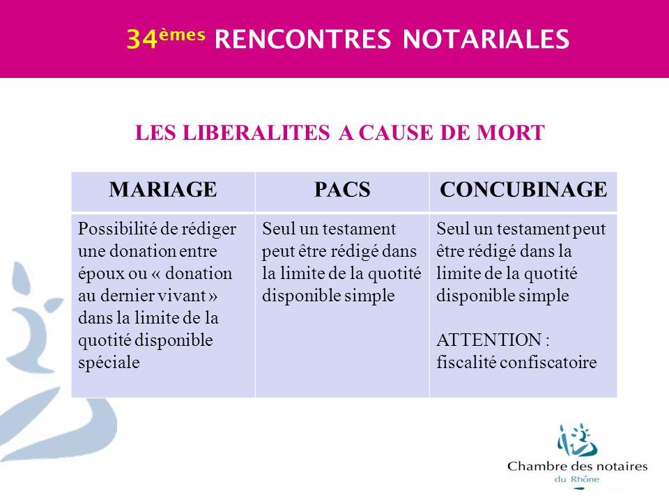 LES LIBERALITES A CAUSE DE MORT 34 èmes RENCONTRES NOTARIALES MARIAGEPACSCONCUBINAGE Possibilité de rédiger une donation entre époux ou « donation au
