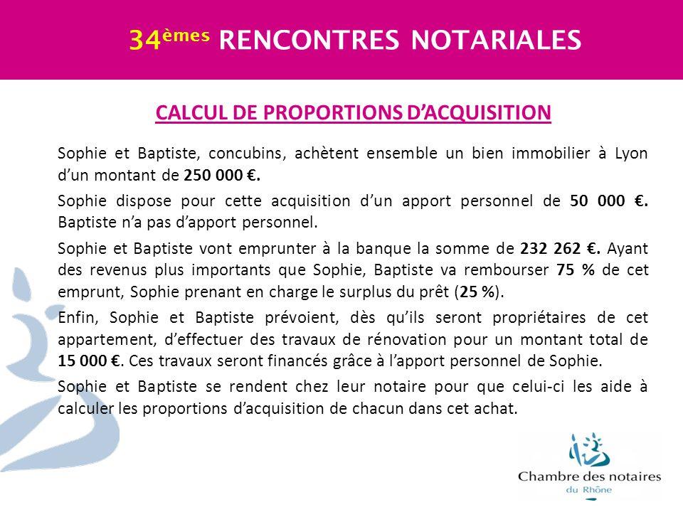 CALCUL DE PROPORTIONS DACQUISITION Sophie et Baptiste, concubins, achètent ensemble un bien immobilier à Lyon dun montant de 250 000. Sophie dispose p