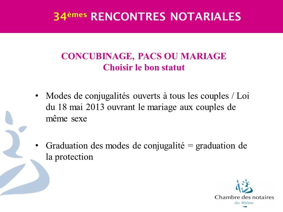 CONCUBINAGE, PACS OU MARIAGE Choisir le bon statut 34 èmes RENCONTRES NOTARIALES Modes de conjugalités ouverts à tous les couples / Loi du 18 mai 2013