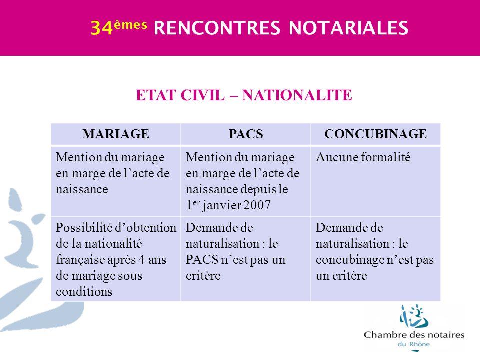 ETAT CIVIL – NATIONALITE 34 èmes RENCONTRES NOTARIALES MARIAGEPACSCONCUBINAGE Mention du mariage en marge de lacte de naissance Mention du mariage en