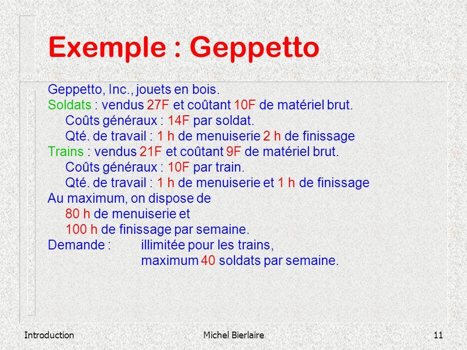 IntroductionMichel Bierlaire11 Exemple : Geppetto Geppetto, Inc., jouets en bois. Soldats : vendus 27F et coûtant 10F de matériel brut. Coûts généraux
