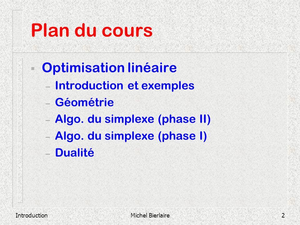 IntroductionMichel Bierlaire2 Plan du cours Optimisation linéaire – Introduction et exemples – Géométrie – Algo. du simplexe (phase II) – Algo. du sim