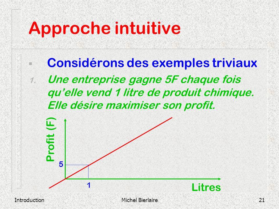 IntroductionMichel Bierlaire21 Approche intuitive Considérons des exemples triviaux 1. Une entreprise gagne 5F chaque fois quelle vend 1 litre de prod