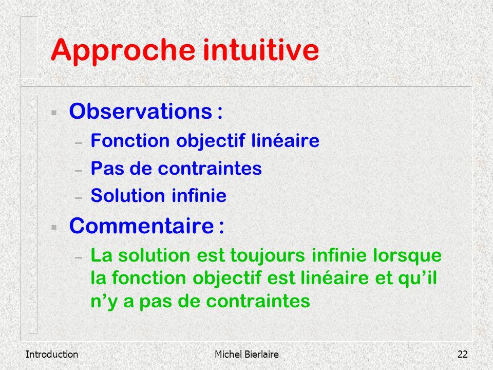 IntroductionMichel Bierlaire22 Approche intuitive Observations : – Fonction objectif linéaire – Pas de contraintes – Solution infinie Commentaire : –