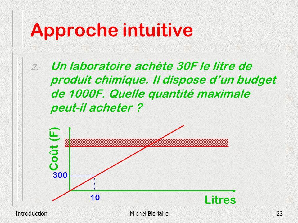 IntroductionMichel Bierlaire23 Approche intuitive 2. Un laboratoire achète 30F le litre de produit chimique. Il dispose dun budget de 1000F. Quelle qu