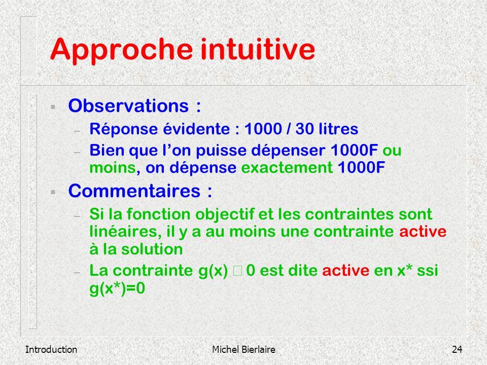 IntroductionMichel Bierlaire24 Approche intuitive Observations : – Réponse évidente : 1000 / 30 litres – Bien que lon puisse dépenser 1000F ou moins,