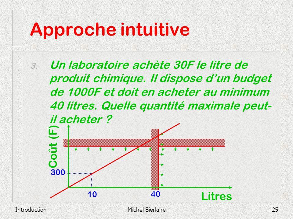 IntroductionMichel Bierlaire25 Approche intuitive 3. Un laboratoire achète 30F le litre de produit chimique. Il dispose dun budget de 1000F et doit en
