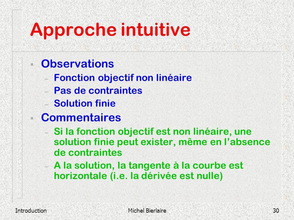 IntroductionMichel Bierlaire30 Approche intuitive Observations – Fonction objectif non linéaire – Pas de contraintes – Solution finie Commentaires – S