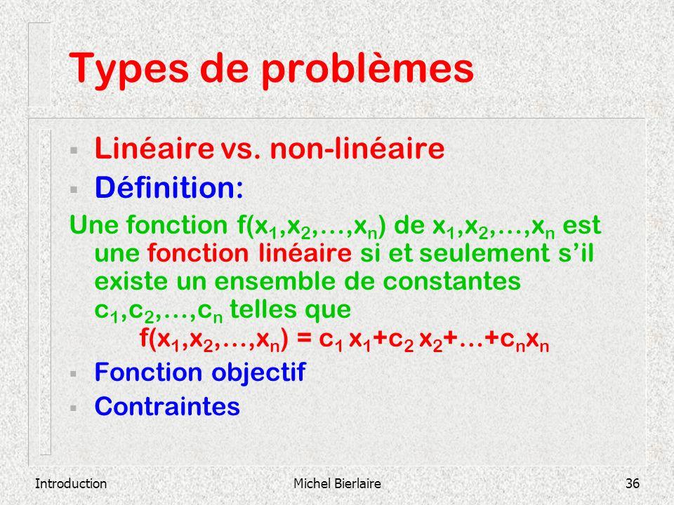 IntroductionMichel Bierlaire36 Types de problèmes Linéaire vs. non-linéaire Définition: Une fonction f(x 1,x 2,…,x n ) de x 1,x 2,…,x n est une foncti
