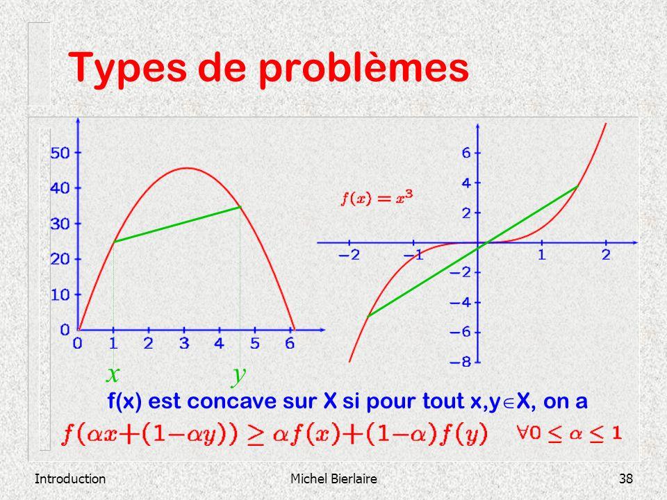 IntroductionMichel Bierlaire38 Types de problèmes xy f(x) est concave sur X si pour tout x,y X, on a