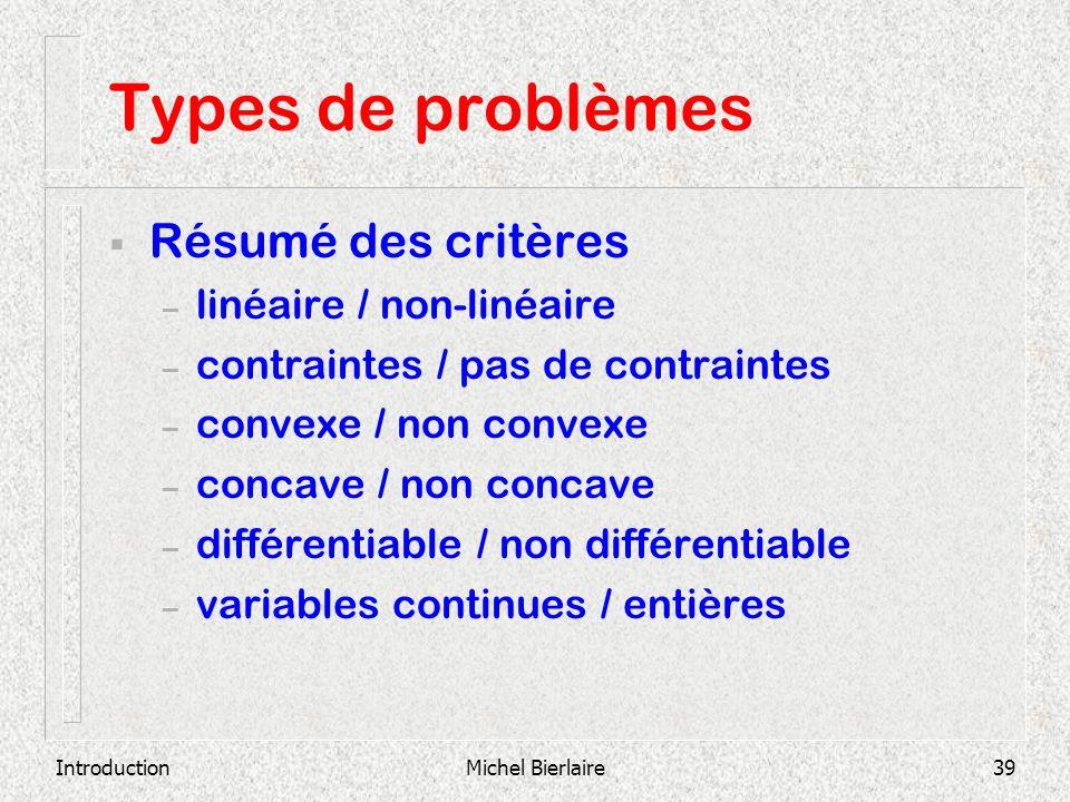 IntroductionMichel Bierlaire39 Types de problèmes Résumé des critères – linéaire / non-linéaire – contraintes / pas de contraintes – convexe / non con