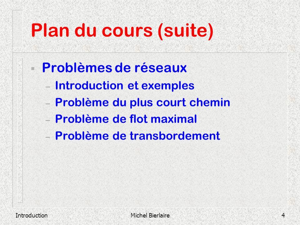 IntroductionMichel Bierlaire4 Plan du cours (suite) Problèmes de réseaux – Introduction et exemples – Problème du plus court chemin – Problème de flot
