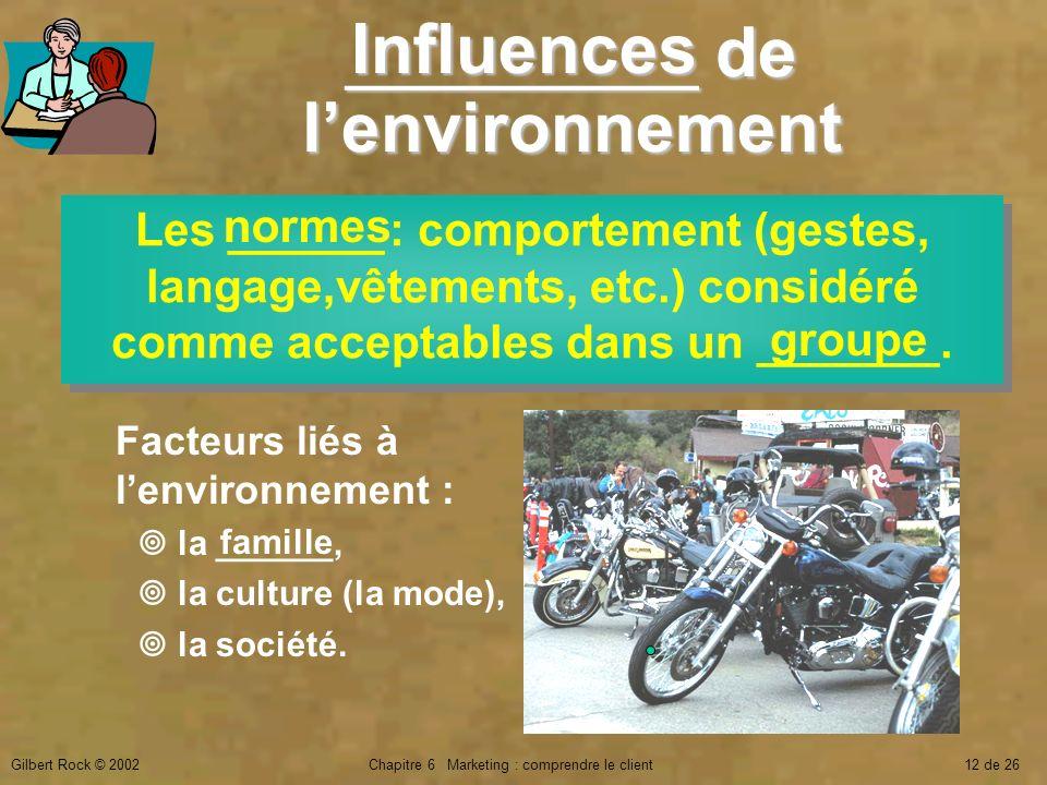 Gilbert Rock © 2002Chapitre 6 Marketing : comprendre le client12 de 26 _________ de lenvironnement Les ______ : comportement (gestes, langage,vêtement
