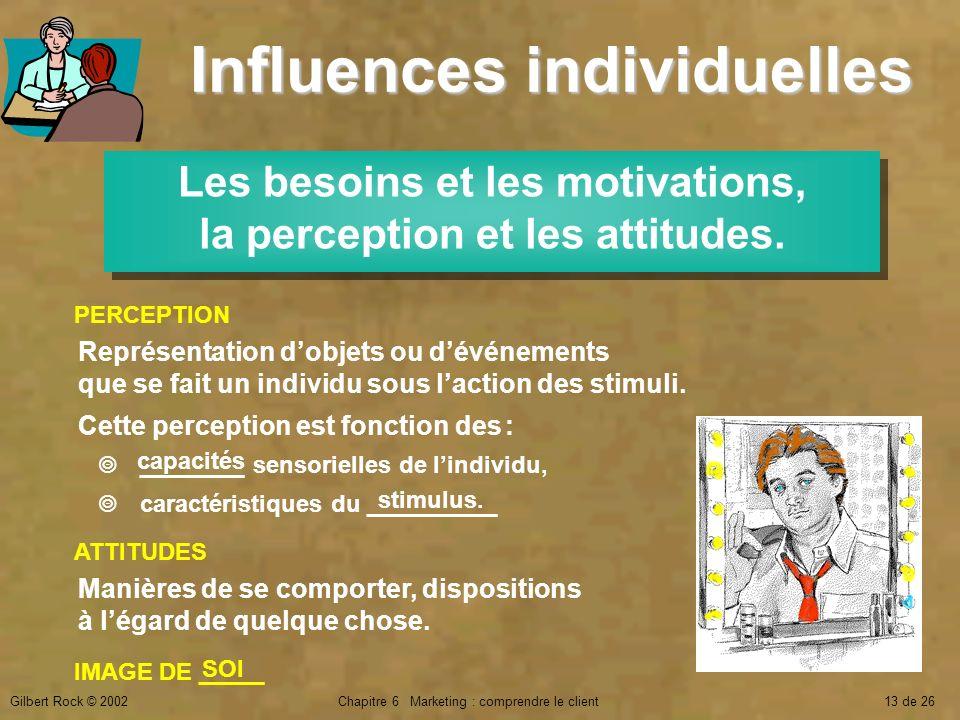 Gilbert Rock © 2002Chapitre 6 Marketing : comprendre le client13 de 26 Influences individuelles Les besoins et les motivations, la perception et les a