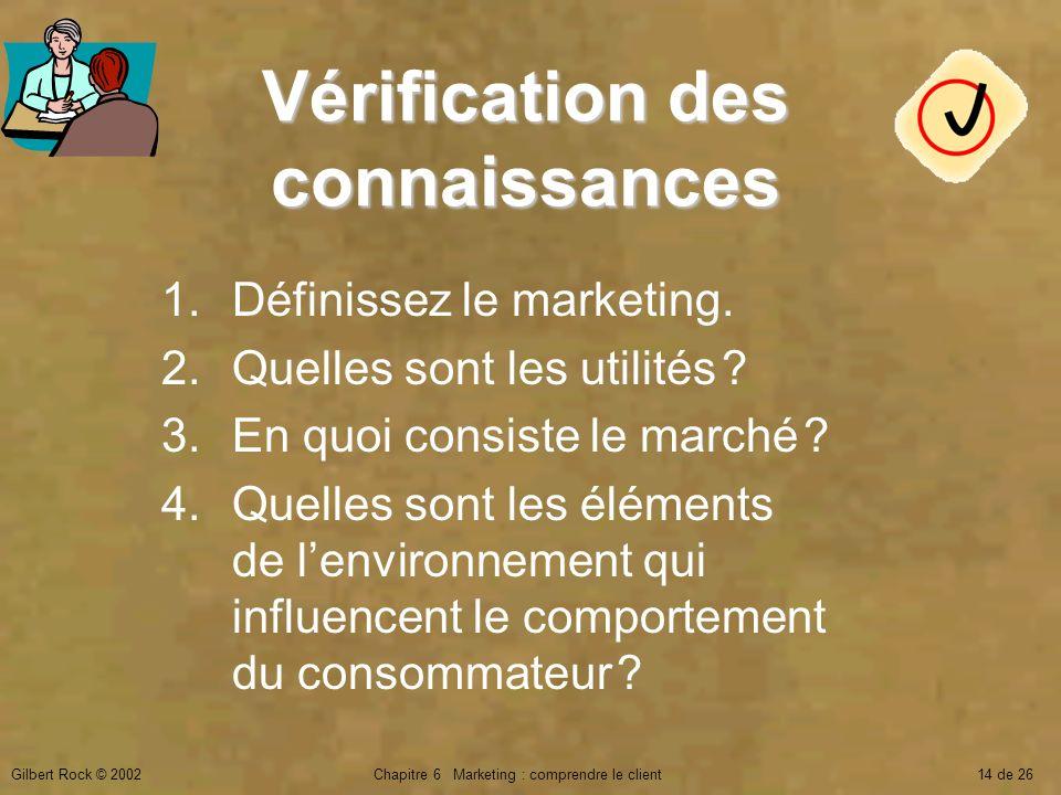 Gilbert Rock © 2002Chapitre 6 Marketing : comprendre le client14 de 26 Vérification des connaissances 1.Définissez le marketing. 2.Quelles sont les ut