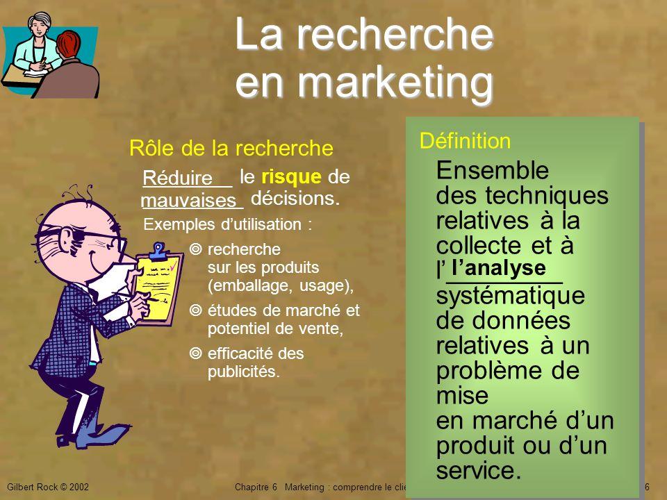 Gilbert Rock © 2002Chapitre 6 Marketing : comprendre le client15 de 26 La recherche en marketing Définition Ensemble des techniques relatives à la col