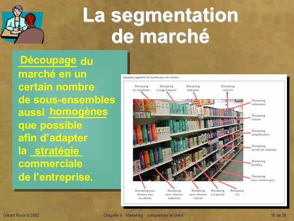 Gilbert Rock © 2002Chapitre 6 Marketing : comprendre le client18 de 26 __________ du marché en un certain nombre de sous-ensembles aussi __________ qu