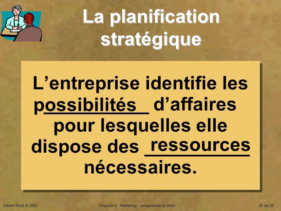 Gilbert Rock © 2002Chapitre 6 Marketing : comprendre le client20 de 26 La planification stratégique Lentreprise identifie les __________ daffaires pou