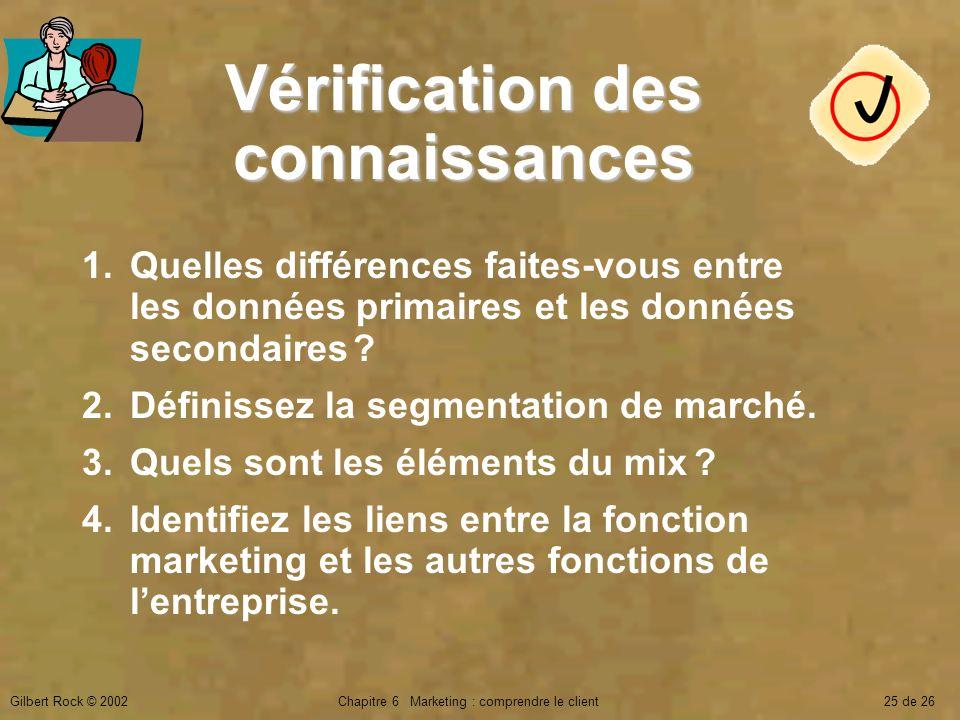 Gilbert Rock © 2002Chapitre 6 Marketing : comprendre le client25 de 26 Vérification des connaissances 1.Quelles différences faites-vous entre les donn