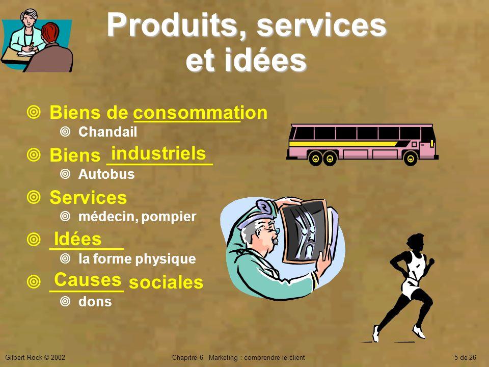 Gilbert Rock © 2002Chapitre 6 Marketing : comprendre le client5 de 26 Biens de __________ Chandail Biens __________ Autobus Services médecin, pompier