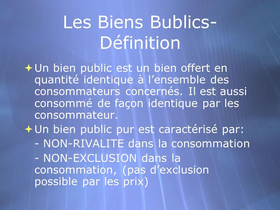 Les Biens Bublics- Définition Un bien public est un bien offert en quantité identique à lensemble des consommateurs concernés. Il est aussi consommé d