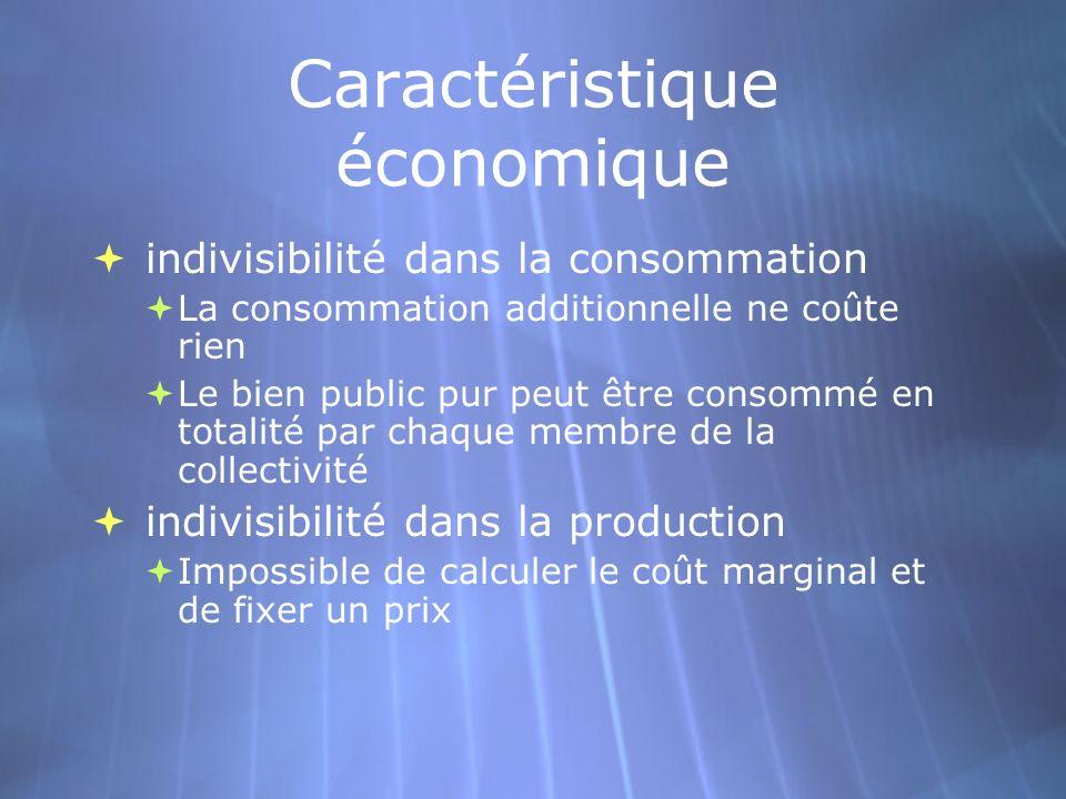 Caractéristique économique indivisibilité dans la consommation La consommation additionnelle ne coûte rien Le bien public pur peut être consommé en to