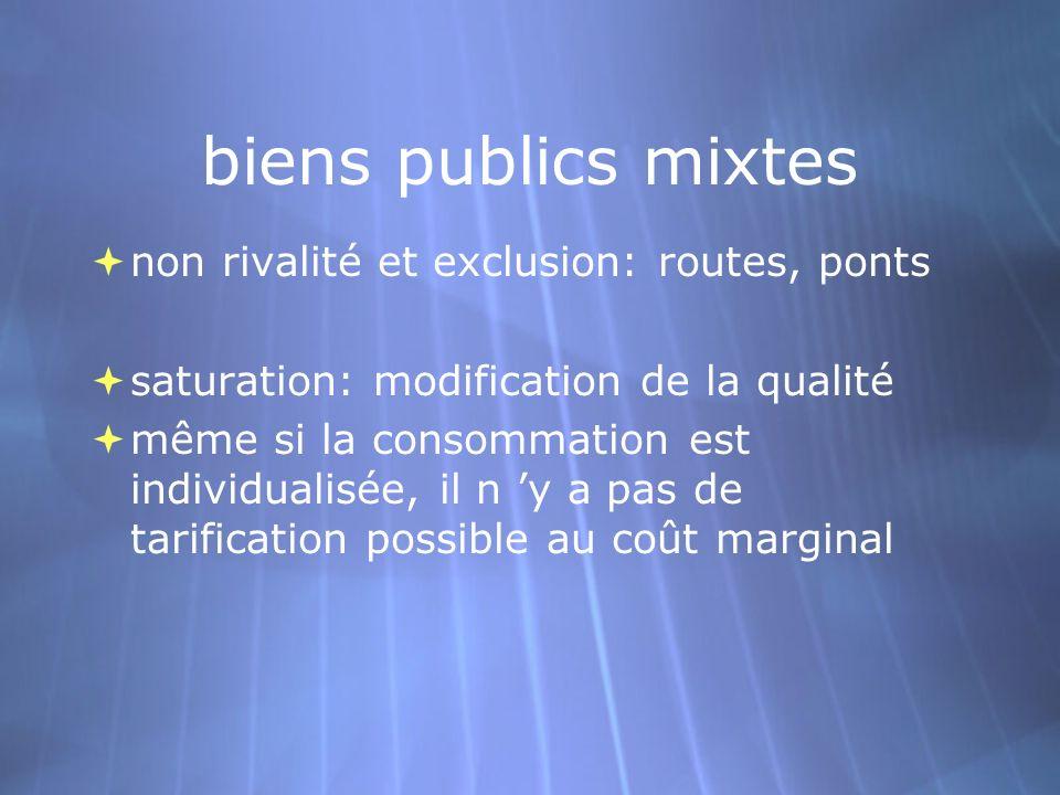 biens publics mixtes non rivalité et exclusion: routes, ponts saturation: modification de la qualité même si la consommation est individualisée, il n