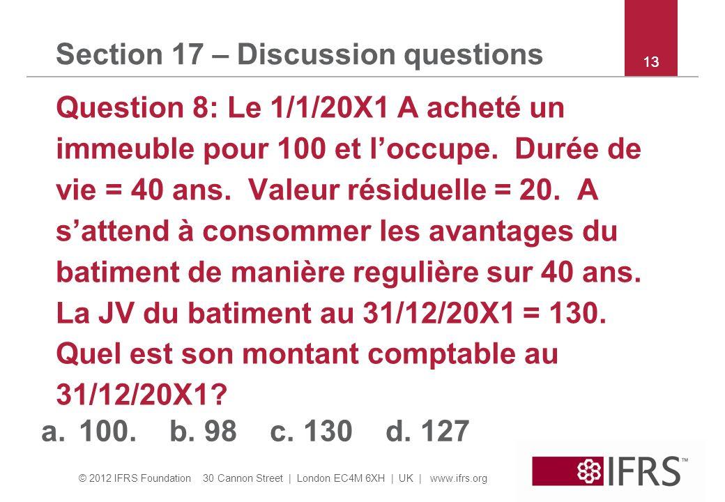 © 2012 IFRS Foundation 30 Cannon Street | London EC4M 6XH | UK | www.ifrs.org 13 Section 17 – Discussion questions Question 8: Le 1/1/20X1 A acheté un