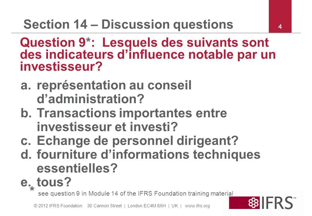 © 2012 IFRS Foundation 30 Cannon Street | London EC4M 6XH | UK | www.ifrs.org 4 Section 14 – Discussion questions Question 9*: Lesquels des suivants s