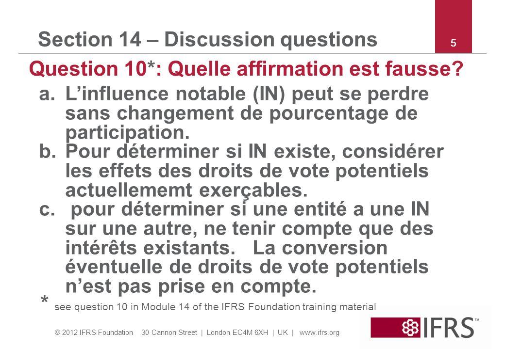 © 2012 IFRS Foundation 30 Cannon Street | London EC4M 6XH | UK | www.ifrs.org 6 Section 15 – Discussion questions Question 7*: Le 31/12/X1 A a acquis 30% de Z pour 100 + 1 de coûts de transaction.