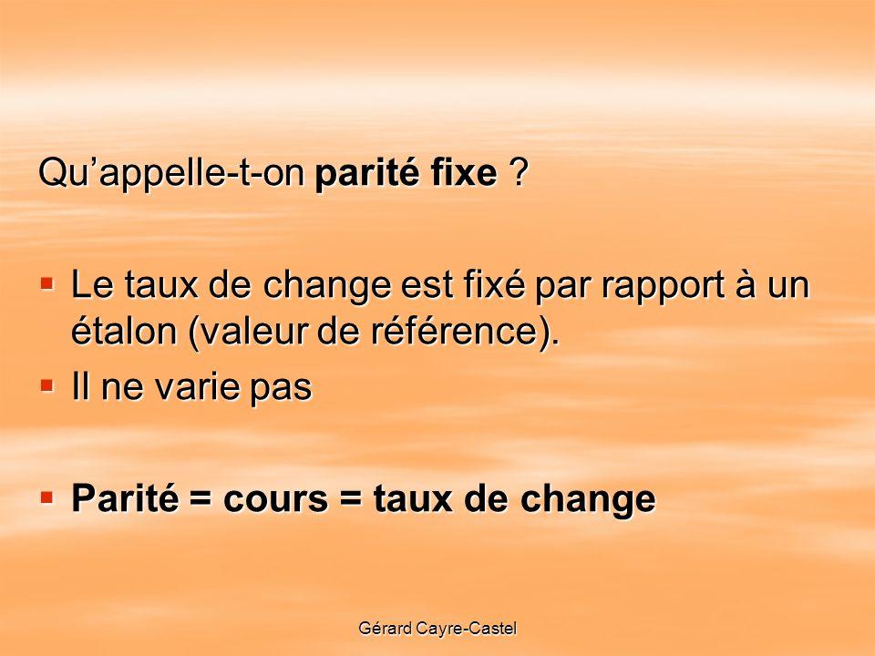 Gérard Cayre-Castel Quappelle-t-on parité fixe .