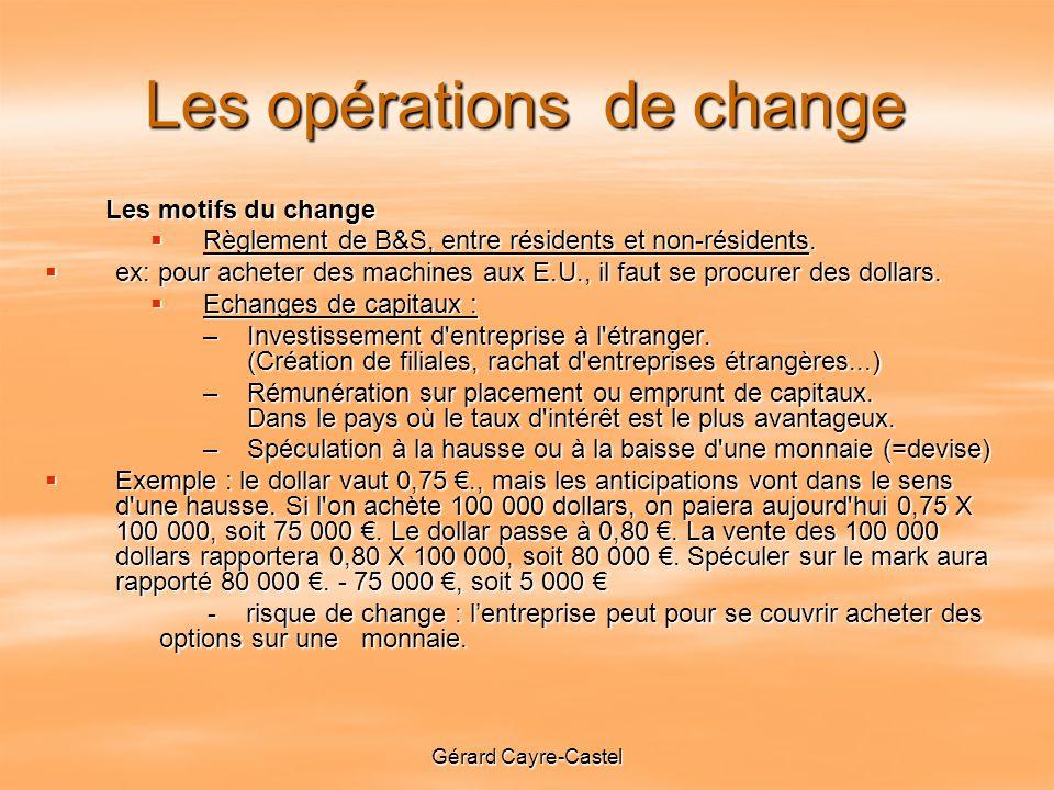 Gérard Cayre-Castel Les opérations de change Les motifs du change Les motifs du change Règlement de B&S, entre résidents et non-résidents.