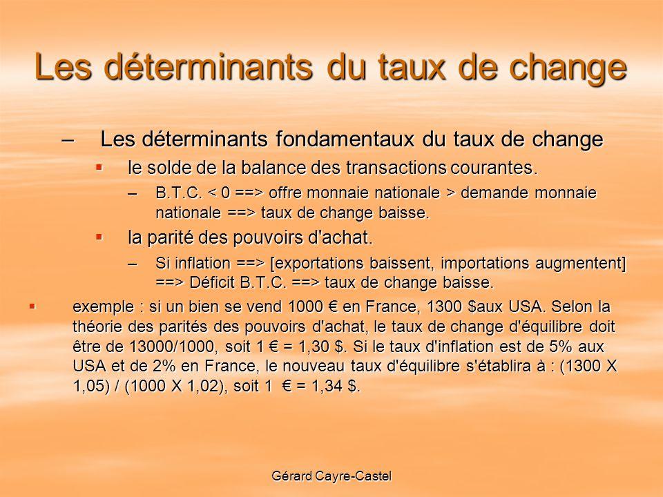 Gérard Cayre-Castel Les déterminants du taux de change –Les déterminants fondamentaux du taux de change le solde de la balance des transactions courantes.