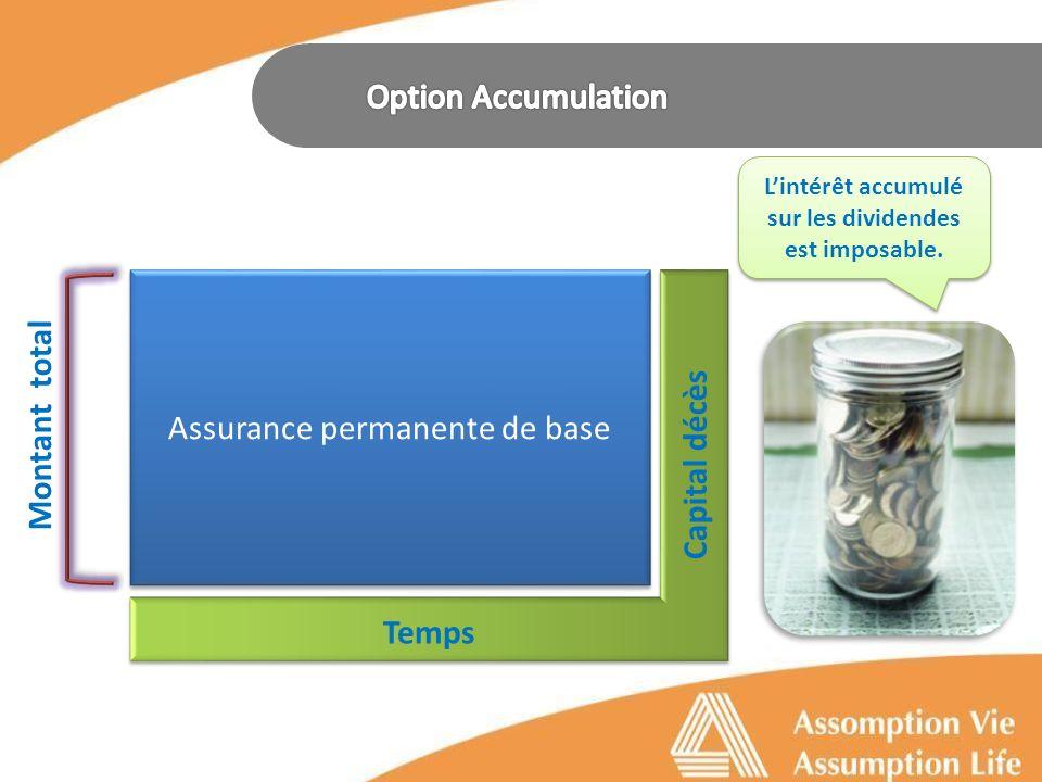 Assurance permanente de base Temps Capital décès Montant total Lintérêt accumulé sur les dividendes est imposable.