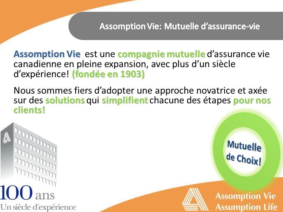 Assomption Vie compagnie mutuelle (fondée en 1903) Assomption Vie est une compagnie mutuelle dassurance vie canadienne en pleine expansion, avec plus dun siècle dexpérience.