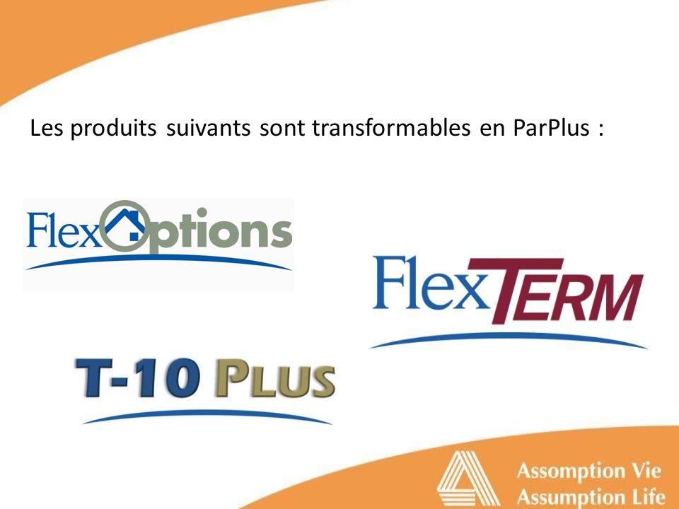 Les produits suivants sont transformables en ParPlus :
